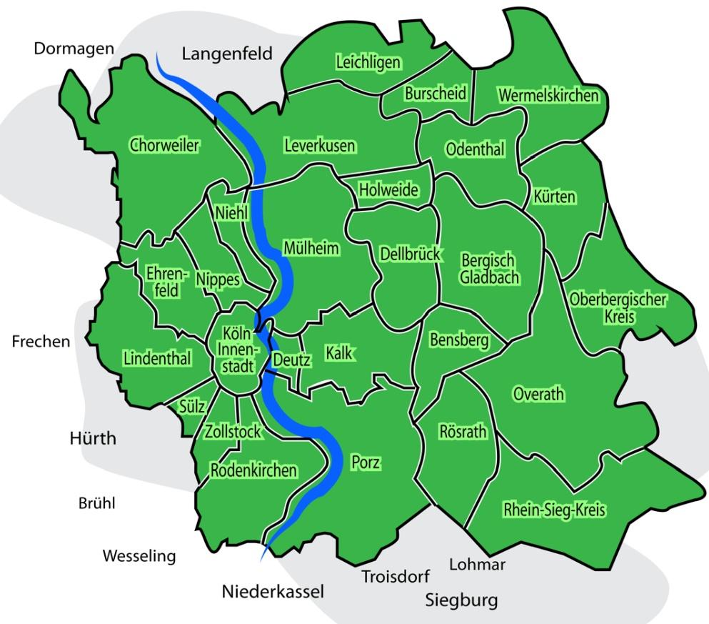 Karte Köln und Umgebung